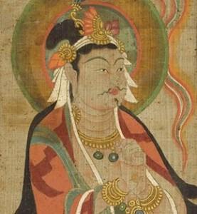 "Unidentified Artist, ""Bodhisattva Wearing Monastic Robes"", 9th century/ Photo Credits: Musée Guimet, France"