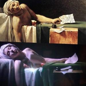 La cantante Lady Gaga en una escenificación de la muerte de Marat/ Photo Credits: Museo del Louvre