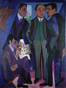 "El Arte denostado por Adolf Hitler es la estrella principal de la muestra que alberga la Neue Galerie/ Photo Credits: Ernst Ludwig Kirchner, ""A Group pf Artists"", Museum Lugwig, Colonia, Rheinisches Bildarchiv, Colonia"