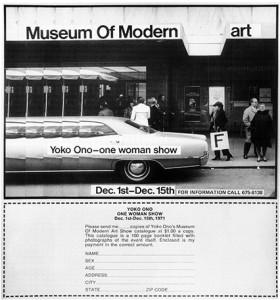 """La creadora tokiota ha desarrollado su carrera por múltiples caminos artísticos/ Photo Credits: """"Anuncio para Museo de (Pedorre)arte Moderno, Yoko Ono"""