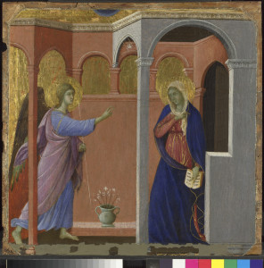 La Anunciación de Duccio deja patente el poder de la arquitectura en una tabla/ Photo Credits: National Gallery