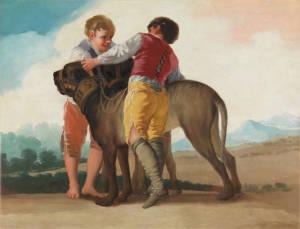 """Los cartones de Goya tienen una clara inspiración sainetesca/ Photo Credits: """"Niños con perros de presa"""", Museo del Prado"""