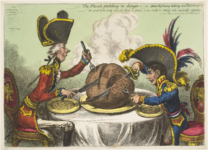 "Napoleón fue objeto de tiras cómicas desde su periodo del consulado/ Photo Credits: James Gillray, ""The plumb-puding in danger -or- stake epicures taking un petit souper"", 1805"