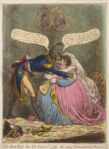 "Napoleón fue objeto de numerosas láminas en las que se ridiculizaba su agitada vida amorosa/ Photo Credits: James Gillray, ""The First Kiss this Ten Years!"", 1803"