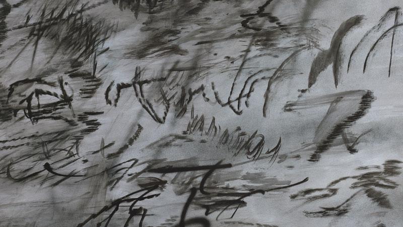 Julie Mehretu entiende la época actual como un conglomerado de comportamientos irrazonables y violentos/ Foto: Heavier than air (written form), 2014/ Julie Mehretu/ Centro Botín